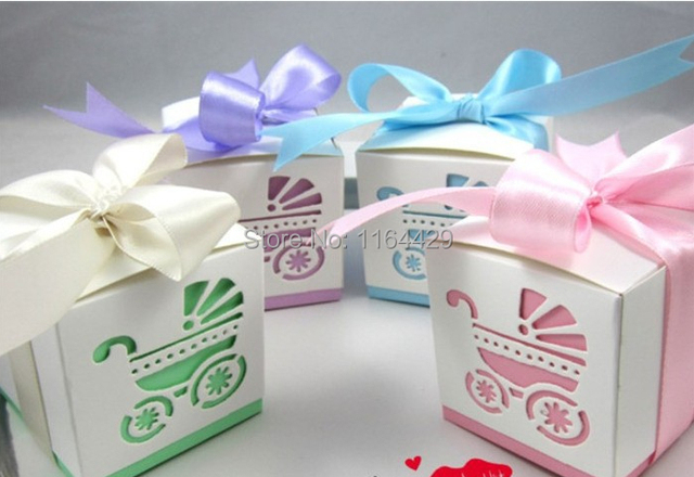 40 pcs Baby Shower Baby Stroller Hollow Favor Candy Boxes Wedding