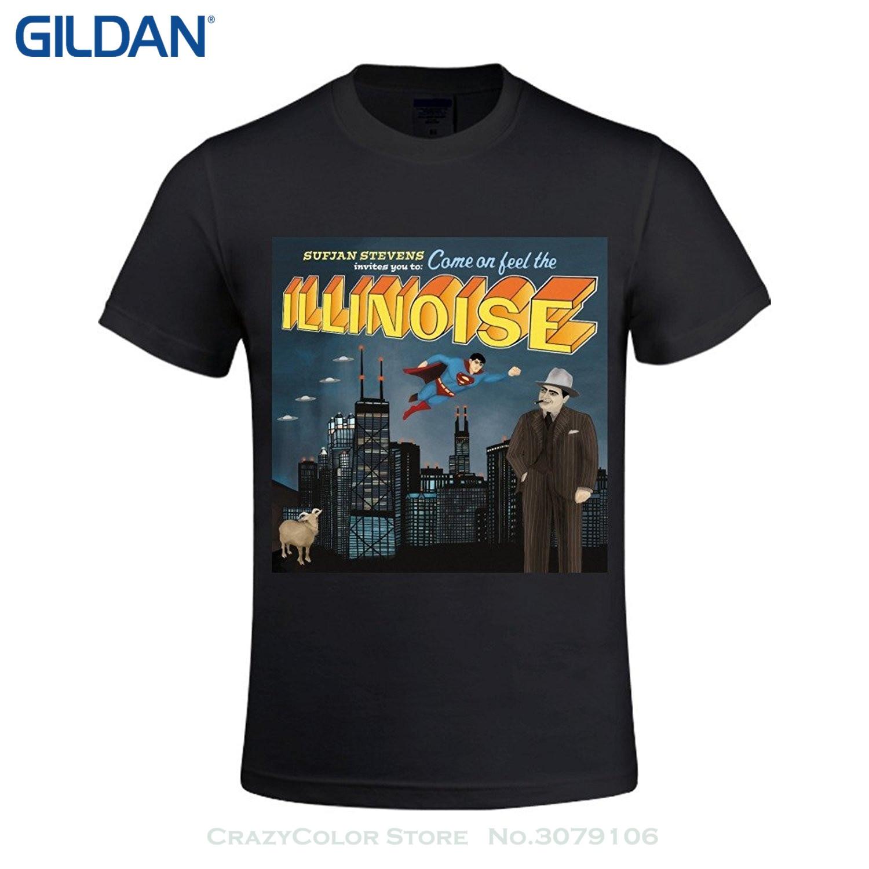 GILDAN Short Sleeve T-shirt Tops Sufjan Stevens Illinois Mens Crewneck Cotton T Shirts ...