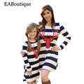 EABoutique Winter Full sleeve fashion Striped antler printed vestido mother daughter dresses matching mother daughter clothes