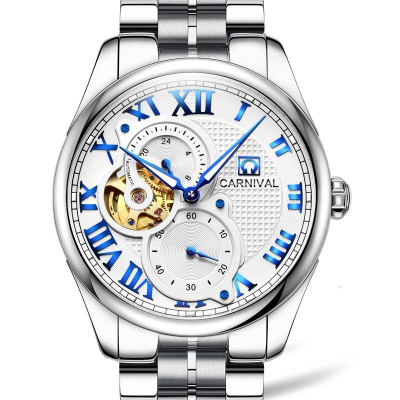 Switzerland Luxury Brand Watch Men Carnival Watches Men Skeleton Luminous Sapphire reloj hombre Waterproof Mens Watch C8718G-3 wrist switzerland automatic mechanical men watch waterproof mens watches top brand luxury sapphire military reloj hombre b6036