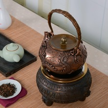 1.6L handmade copper teapot glass samovar ceramic  enameled from clay kettle metal dishes puer green tea gift Japanese