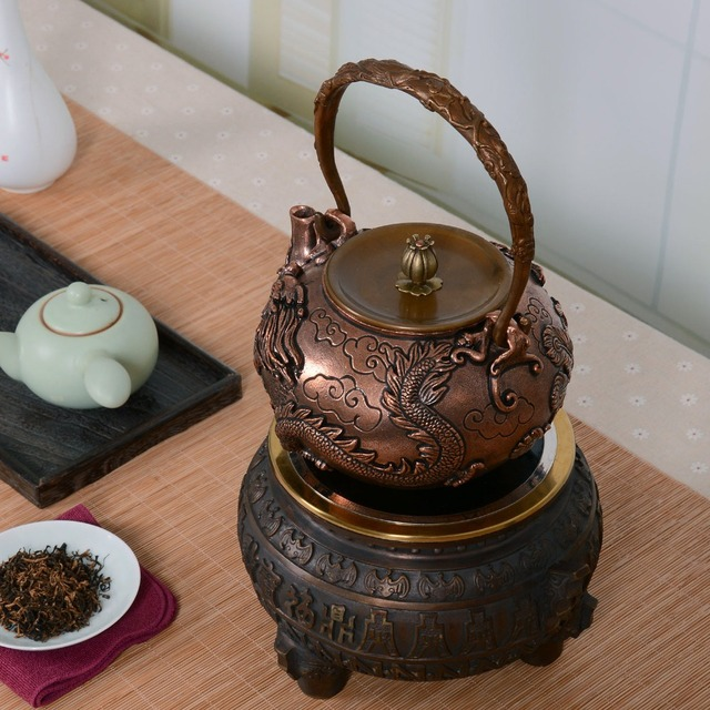 1.6L handmade copper teapot glass samovar ceramic  enameled from clay enameled kettle metal dishes puer green tea gift Japanese
