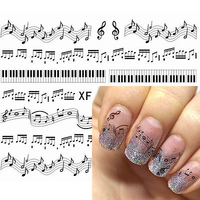 1 Sheet Black Cute Musical Notes Piano Keys Pattern Nail Water Decals Nail Stickers Transfer Sticker XF127 one bottle cute white little snowflake pattern nail sticker