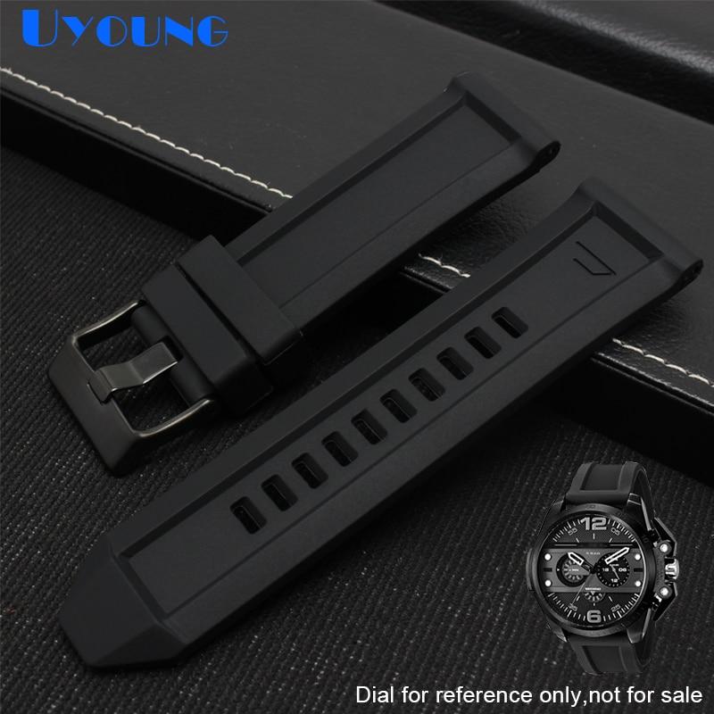 24mm 26mm bracelet waterproof silicone watchstrap for diesel watchband DZ7370 DZ7333 DZ7317 DZT2006 watch strap mens band