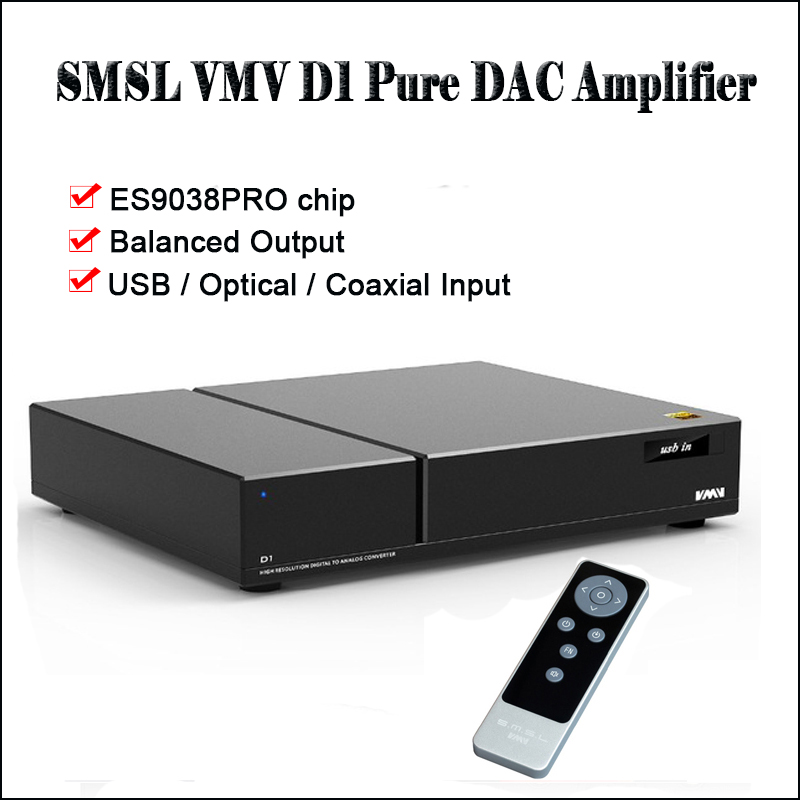 SMSL VMV D1 De Bureau USB DAC Audio Amplificateur Décodeur DAC ES9038PRO DSD DAC Amplificateur Équilibré sortie Decodificador