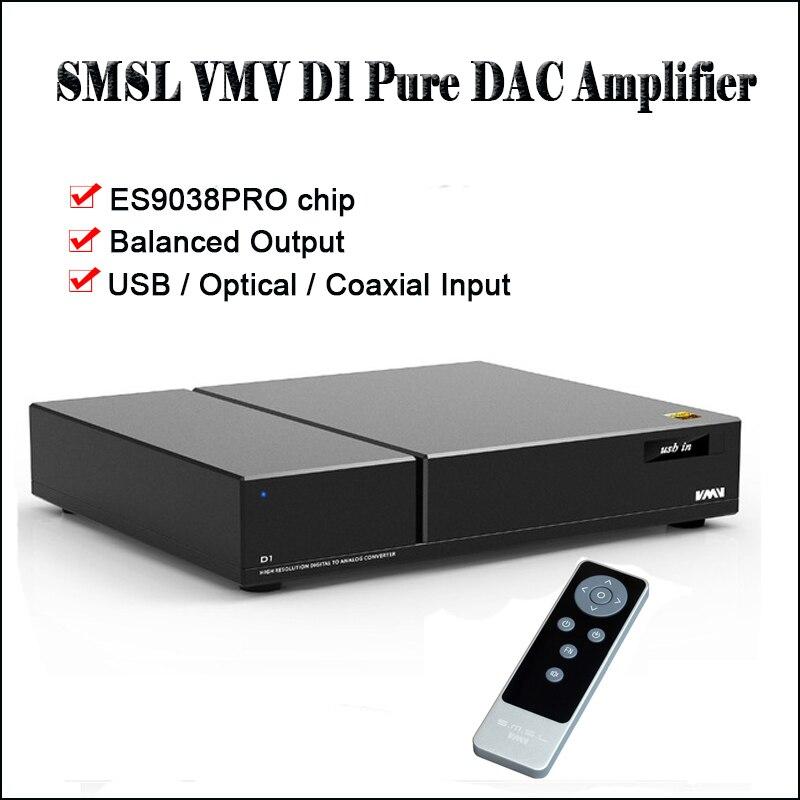 SMSL VMV D1 escritorio DAC USB amplificador de Audio Decodificador DAC ES9038PRO DSD DAC amplificador de salida balanceada Decodificador