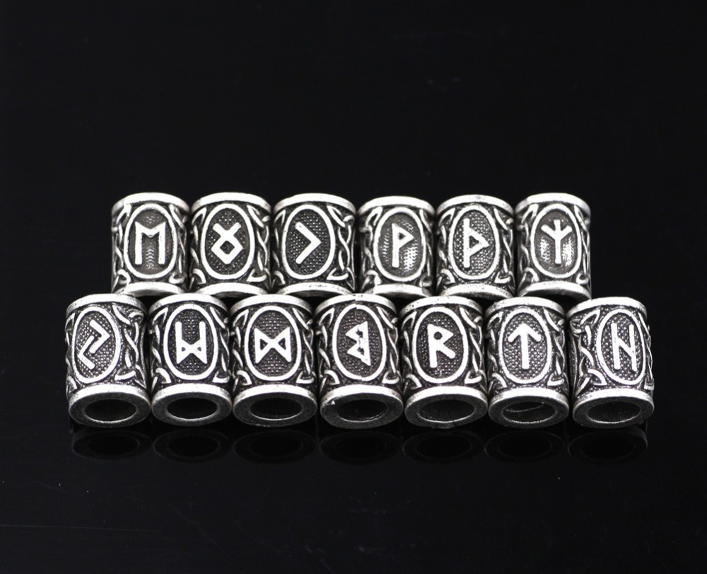 24 teile/los Viking Runes Perlen Charms TIWAZ TYR Sol rune Odal Futhark Rune Anhänger für Haar Perle Brot Ring Viking schmuck Finden