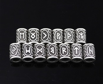 24pcs/lot Viking Runes Beads Charms TIWAZ TYR Sol rune Odal Futhark Rune Pendant for Hair Bead Bread Ring Viking Jewelry Finding image