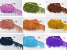Ny notering! Partihandel av hög kvalitet 2-20m strutsfjäderband, fjäderlängd 8-11cm / tofs kjol bröllopsklänning DIY