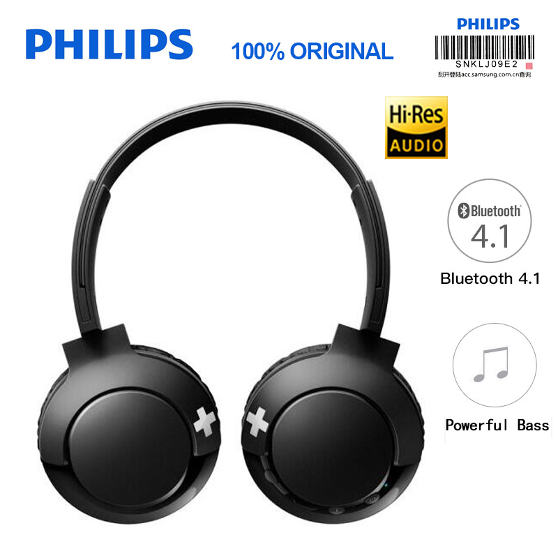 Philips Wireless Headset SHB3075 Headband with Bluetooth 4.1 Volume Control Lithium Polymer for S9 S9 Plus Note 8 philips bluetooth headphone shb3060 wireless headset with micro usb lithium headband battery 11 hours music time for s9 s9 plus