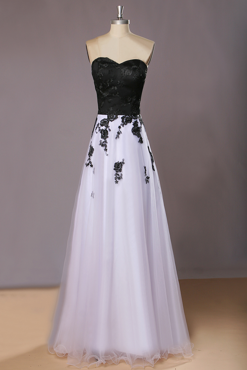 Black and White Long Evening Dresses for Women