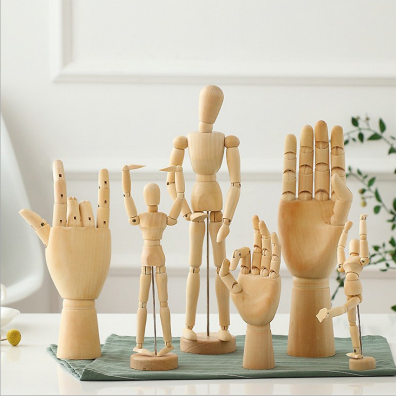 Creative:  Creative Wooden Art Model Ornaments Wooden Doll Joint Hands Home Living Room Office Desktop Decorations - Martin's & Co