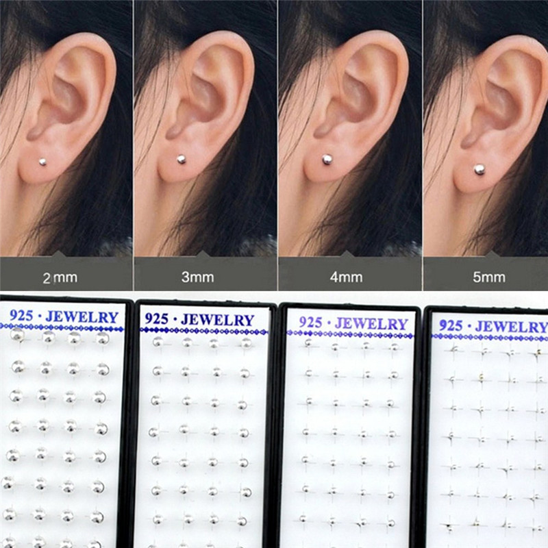 20 Pairs Box Mini Stud Earrings Copper Ball Ear Studs Sliver Color 2mm 3mm 4mm 5mm For Women Jewelry Whole In From