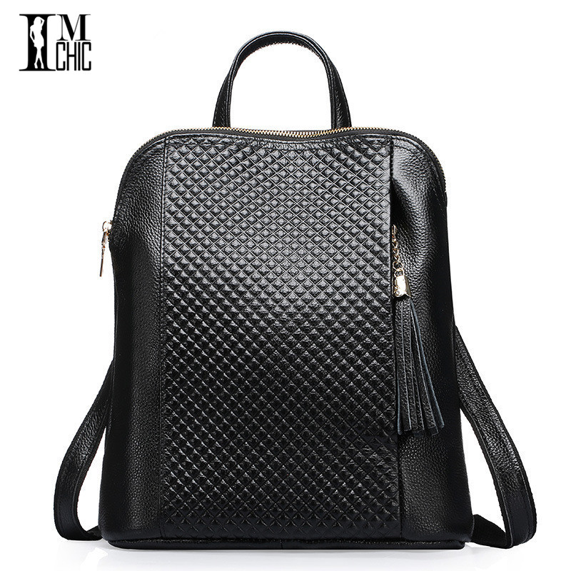 2017 Lux Genuine Leather Women Backpacks Soft Cowhide plaid Pattern Real Skin Female Preppy Style Schoolbag Girl Travel spacious