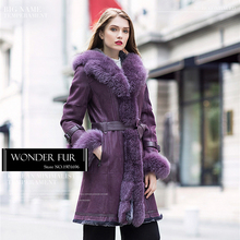 Violet Rex Rabbit Fur And Skin Overcoat With Large Fox Fur Collar And Cuff Special Rex Rabbit Fur Jacket For Beautiful Women