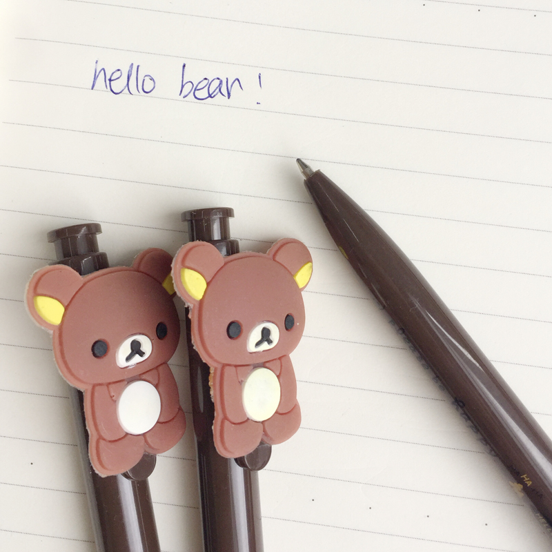 40pcs/lot Cute Kawaii Creative Rilakkuma Gel Pen Mini Writing Signing Pen School Student Stationery Kids Gift Blue Ink 0.5mm To Have A Long Historical Standing Gel Pens