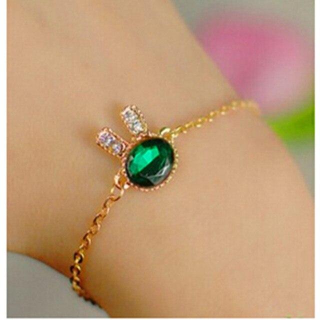 2016 Fashion Jewelry Cute Bunny Rhinestone Charm Bracelets   Bangles Blue  Glass Bracelets For Women Gift Pulseira Feminina 1e3d77645af9
