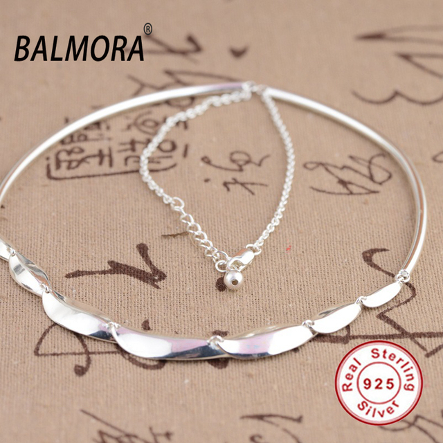 BALMORA 100% Real 925 Joyería de Plata Esterlina 45 cm Largo Clásico Torques Collares para Hombres de Las Mujeres Accesorios Bijoux JLWC80666