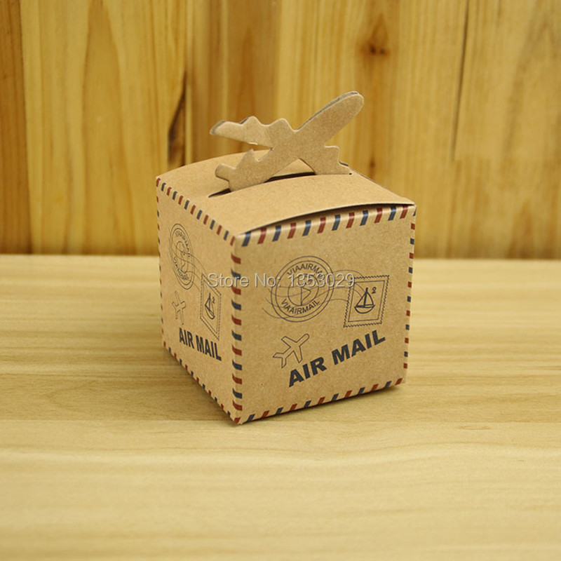 100pcs Romantic Wedding Decor Air Mail Vintage Kraft Paper Candy Box Travel Themed Wedding Decoration Chic Party Supplies