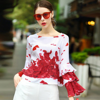 2017 Women Blouses Elegant Shirt Floral Rose Petal Printed Runway Cute Ladies Spring Summer Korean Spring