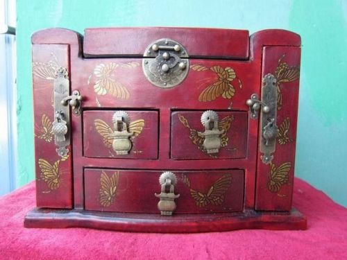 Exquisite Chinese wood dressing table old dresser with drawers mirror Dragon butteryfly Picture