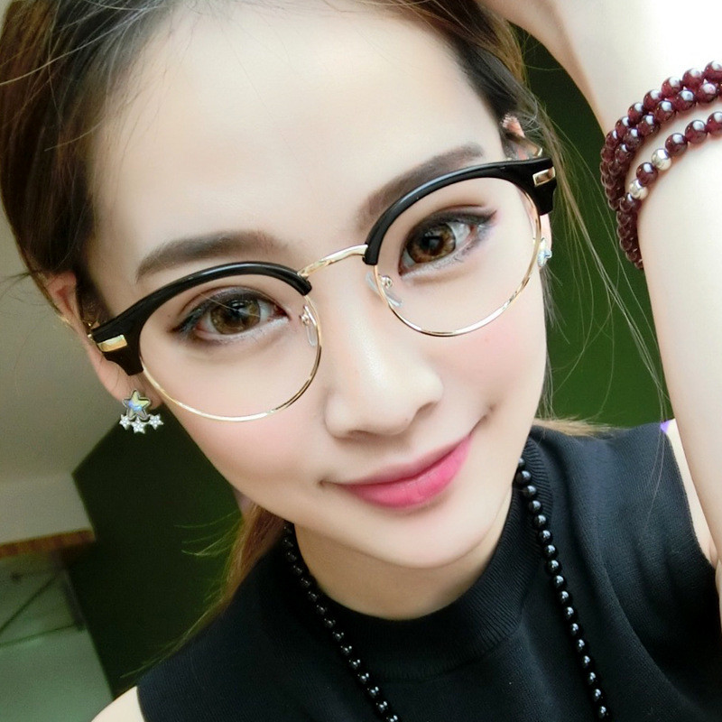 Half Frame Fake Glasses : 2016 fashion metal half frame glasses frame retro women ...