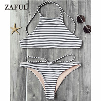 CharMma 2017 Striped High Neck Bikini Set Low Waisted Bralette Strappy Swimsuit Seamless Brazilian Bikini Sexy