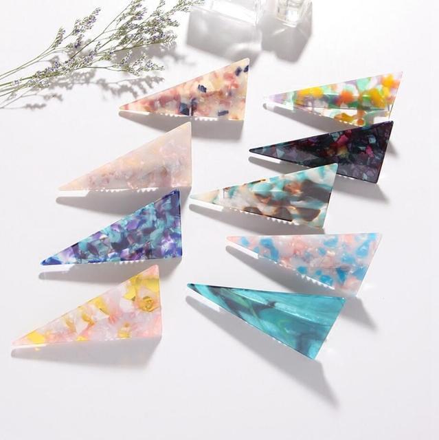 Korea Fresh Top Clip Elegant Ladies Headdress Acetate Marble Triangle Hairpin Hair Accessories