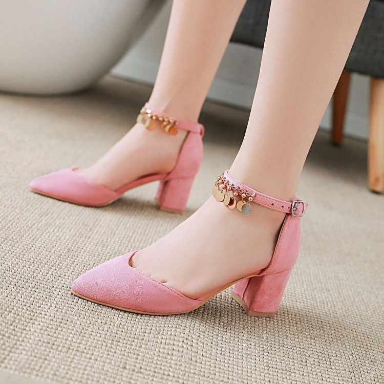 Big Size 11 12 13 14 15 16 17 high heels sandals women shoes woman summer ladies Suede thick-heeled buckle with head and ankle