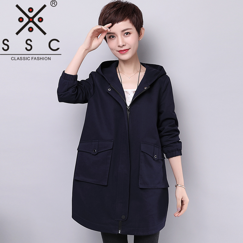 SSC Big Pocket Women   Trench   Coat Size Plus 4XL Middle-aged Hooded Loose 100% Cotton 2018 Spring and Autumn New   Trench   Femme M201
