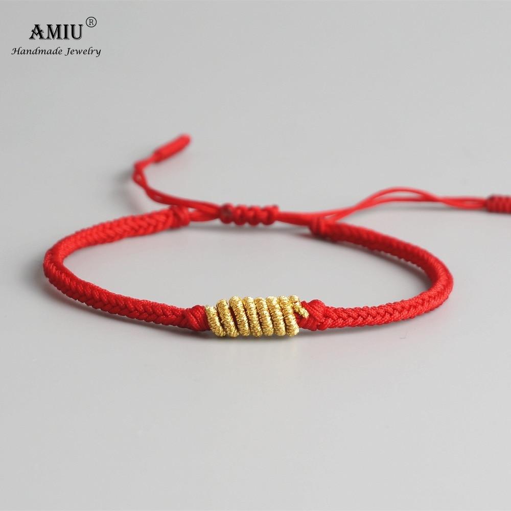 AMIU Tibetan Buddhist Gold-color Lucky Charm Tibetan Bracelets & Bangles For Women Men Handmade Knots Rope Bracelet