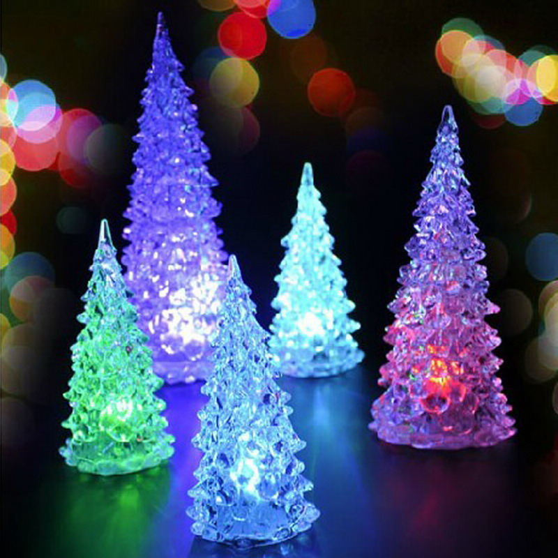 Beautiful Christmas Tree Lamp Acrylic Icy Crystal Color Lamp Light Decoration Christmas Tree Home Decor Gift WB068
