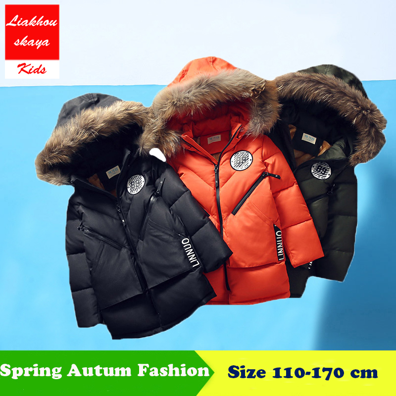 Liakhouskaya 2018 Fashion Childrens Winter Fur Down Coats Jacket For Boy Parkas Clothes Thick Cotton-Padded Long Solid Russian new winter fashion large fur collar cotton parkas thick women cotton padded jacket solid color zipper long sleeve wadded coats