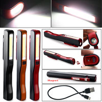 USB Charging Mini LED Flashlight COB LED Rechargeable Magnetic Pen Clip Hand Torch Work Light For