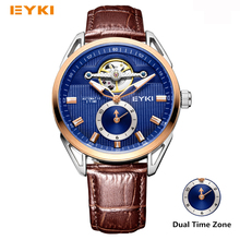 EYKI Dual Time Zone Famous Brand Watches Men Mechanical Automatic Self-winding Genuine Leather Strap Luminous Skeleton Watch Man