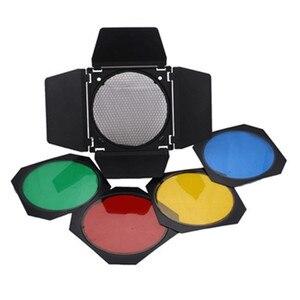 Image 3 - Godox Bowens Dağı Reflektör Stüdyo için Flaş + BD 04 Ahır Kapı Petek Izgara + 4 renk Filtresi