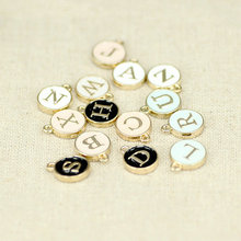 1412mm diy alloy bracelet accessories white enamel small alphabet pendants metal initial charms round gold plate letter beads