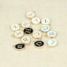 5pcs Top Quality A-Z White/Pink Charms Letter Oil-drop Jewelry,Gold Disc Pendant alphabet Beads Charm for DIY Jewelry(China)