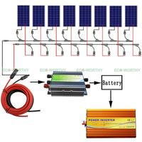 800W Off Grid Kit: 8*100W Solar Panel with 3KW 12 110V Pure Sine Inverter+Cable
