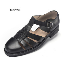 Koovan Men s Sandals 2021 New Summer Father Sandals Genuine Leather Hand stitched Slotted Bottom Men Aged Business Shoes 35 48