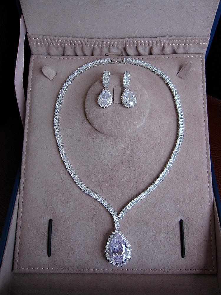 купить Hot sale Fashion Fashion AAA cubic zirconia waterdrop necklace and drop earrings jewelry set,S1036 онлайн