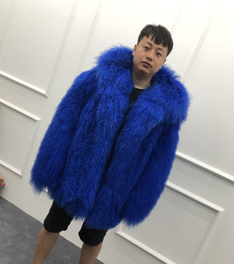 HTB1NiDaXHH1gK0jSZFwq6A7aXXag 2019 Men's real mongolian sheep fur coat hooded warm winter outerwear lapel beach wool fur overcoat long sleeve Jacket