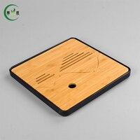 25 25 2cm Square Bamboo Tray High Quality Plastic Pot Teaset Trivet Teaset Tray Tea Set