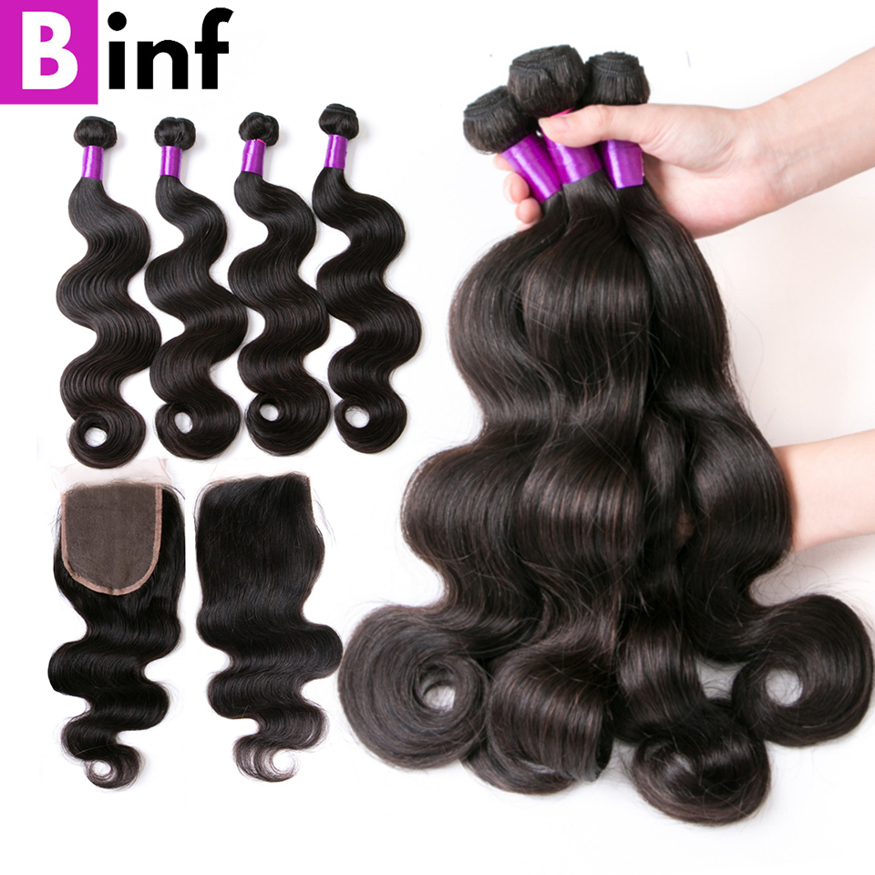 BINF Body Wave Bundles With Closure Remy Hair Brazilian Hair Weave Bundles With Closure 100 Human