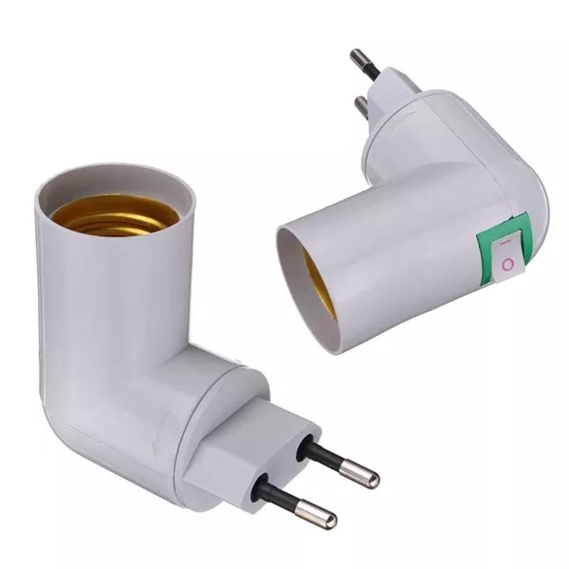 EU Plug PP To E27 Base Soket Convertor Splitter Lamp Holder With Switch Socket Adapter Screw Converter For Night Home Lighting