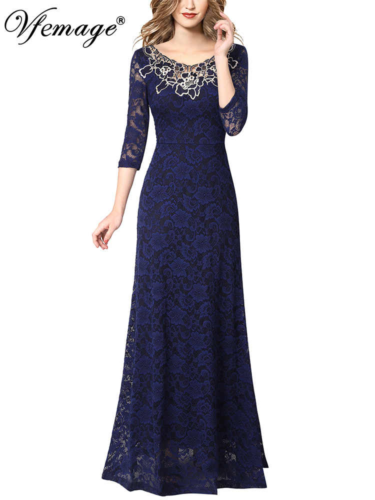 1528e27ac8 Vfemage Womens Elegant Applique Floral Lace Formal Evening Gowns Wedding  Party Mother of Bride Prom A-line Long Maxi Dress 1195