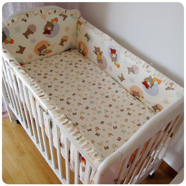 ФОТО Promotion! 6PCS 100% cotton baby bed set cot nursery bedding kit bed around (bumper+sheet+pillow cover)