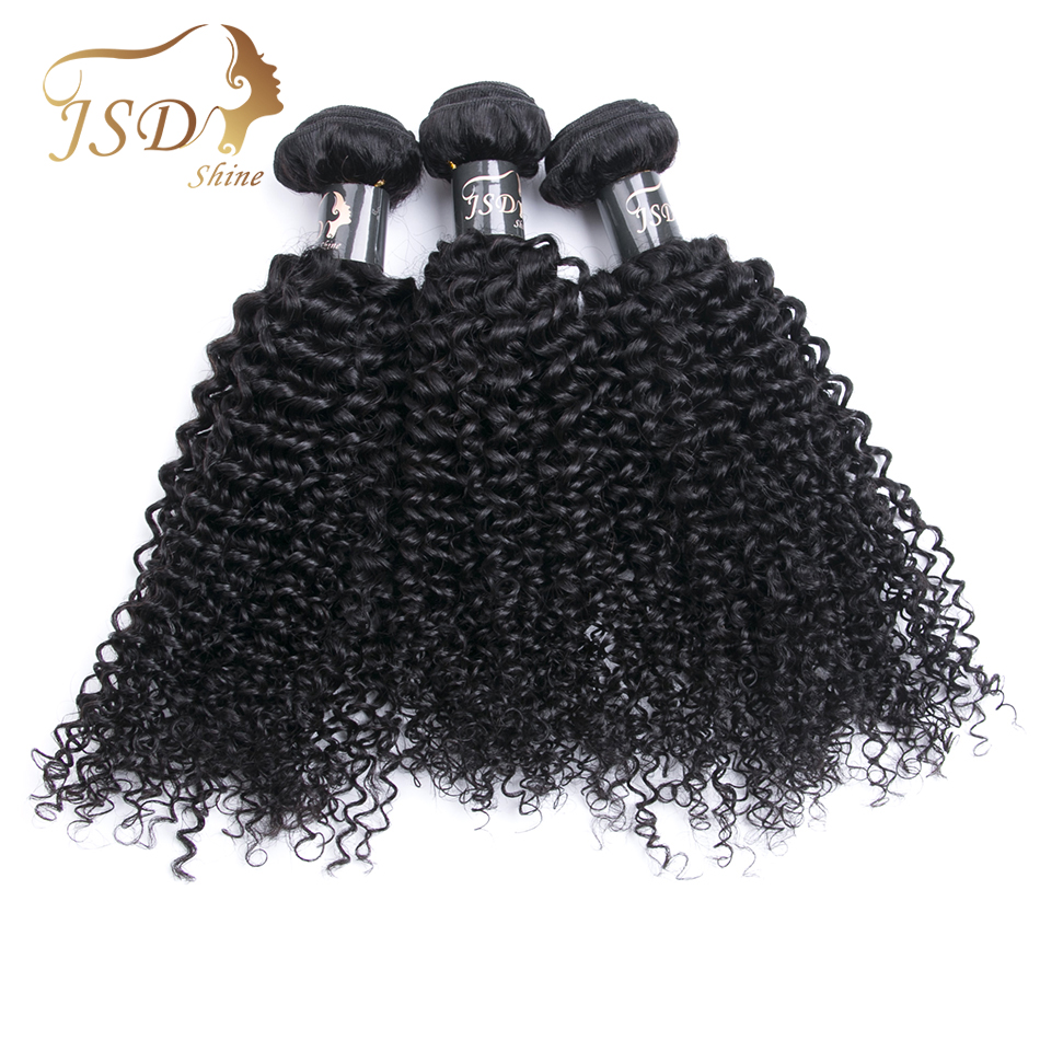 JSDShine Kinky Curly Hair Weave Bundles Natural Color Mongolian Human Hair Weft 8-28Inch Non Remy Hair Extensions Can Dye 3PC