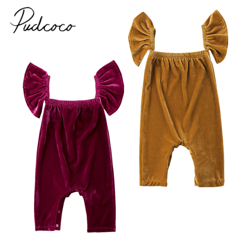 112f1adc996 2018 Brand New Newborn Toddler Infant Baby Girls Ruffle Velvet Off Shoulder  Romper Jumpsuit Solid Outfits Retro Summer Clothing-in Rompers from Mother  ...