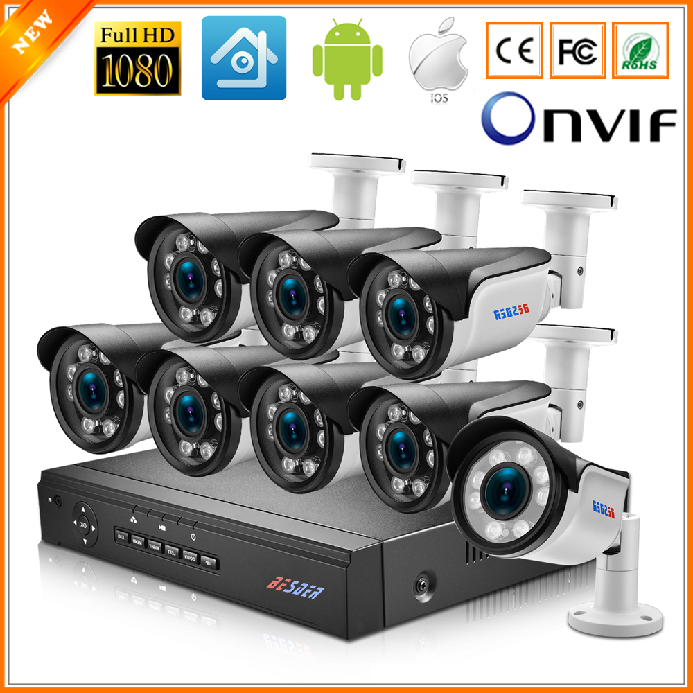 BESDER 4X Auto Zoom Motorized Lens 2.8 12mm 1080P 960P Surveillance Security PoE NVR Kit 4CH 8CH PoE Outdoor Bullet CCTV System-in Surveillance System from Security & Protection    1